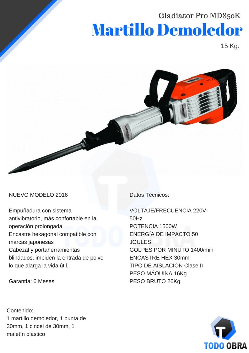 Martillo Demoledor 15 Kg. Gladiator Pro MD850K